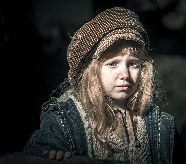waif sad little girl - disinherit stock pictures, royalty-free photos & images