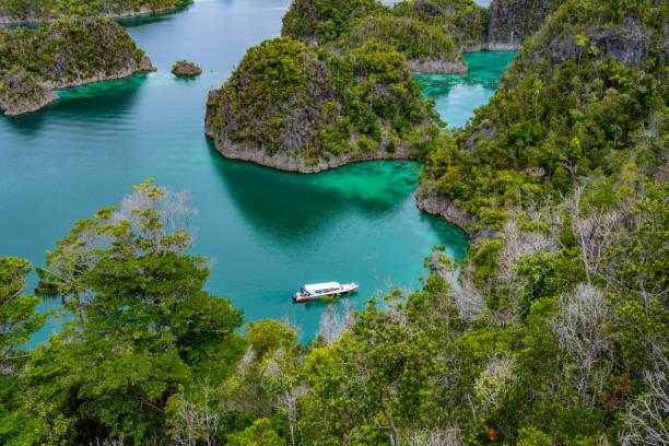 Waigeo, Kri, Mushroom Island, group of small islands in shallow blue lagoon water, Raja Ampat, West Papua, Indonesia stock photo