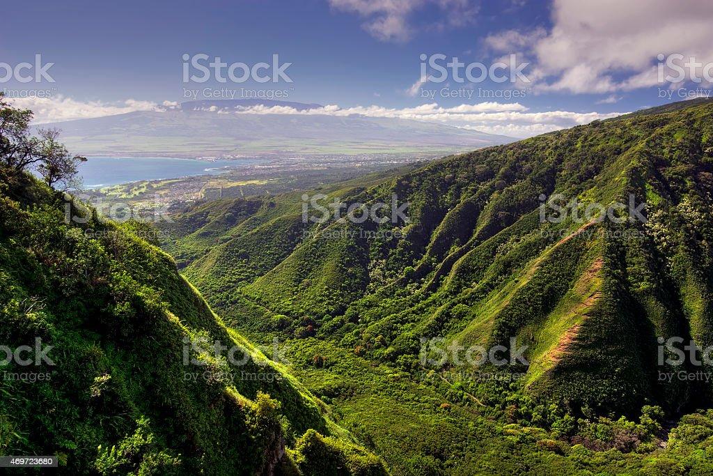 Waihee Ridge Trail and view of Kahului and Haleakala, Hawaii stock photo
