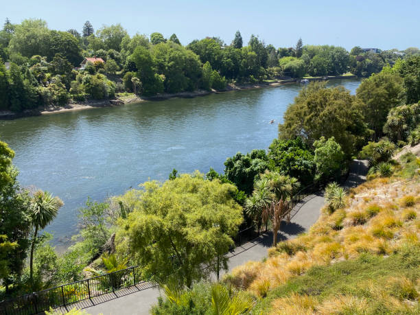 Waikato River trail through central Hamilton stock photo