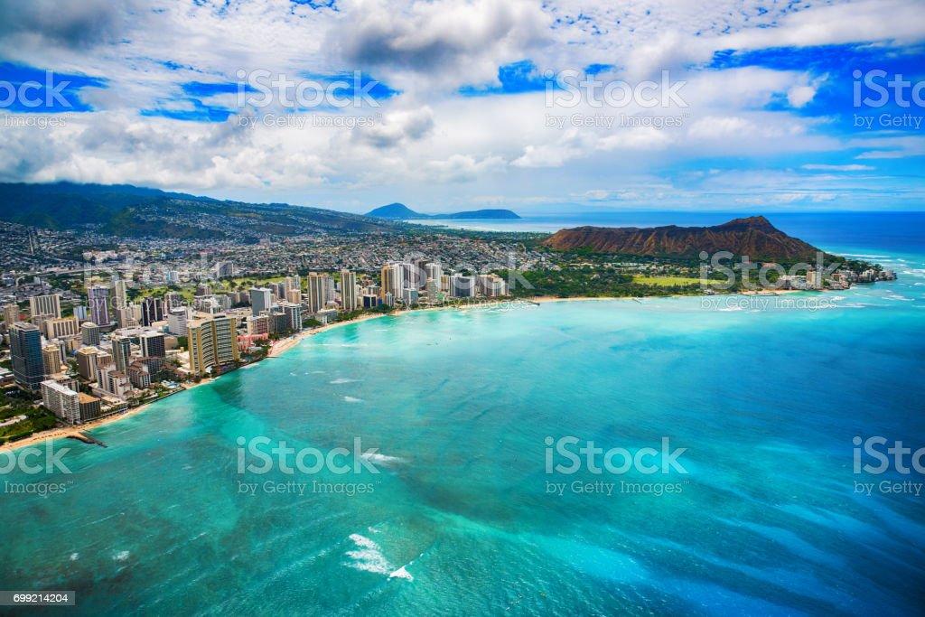 Waikiki Aerial of Honolulu Hawaii stock photo