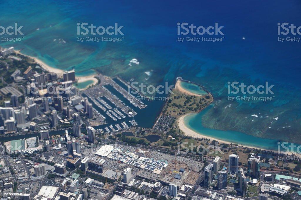 Waikiki, Ala Wai Canal, Ala Moana Mall, Park and Ocean stock photo