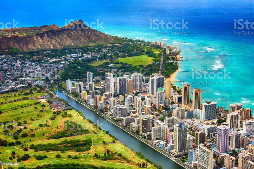 Waikiki and Diamond Head Aerial stock photo