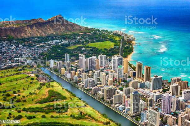 Waikiki And Diamond Head Aerial Stock Photo - Download Image Now