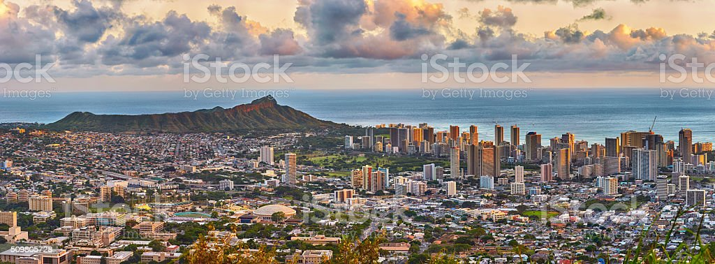 Waikiki and Diamond Head from Tantalus lookout stock photo