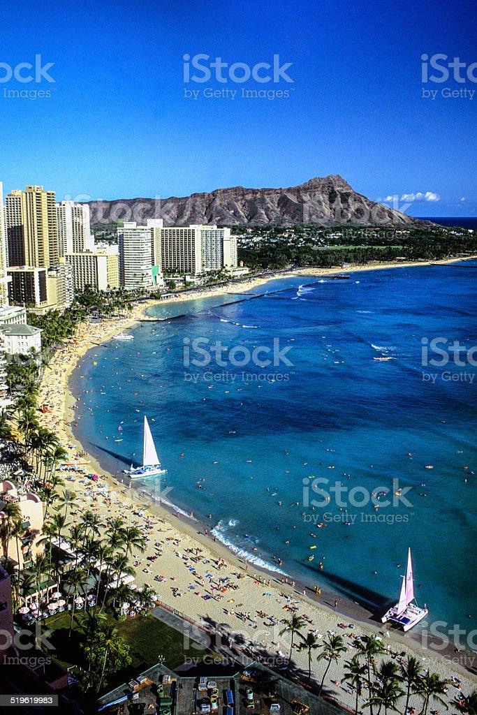 Waikiki and Diamond Head stock photo