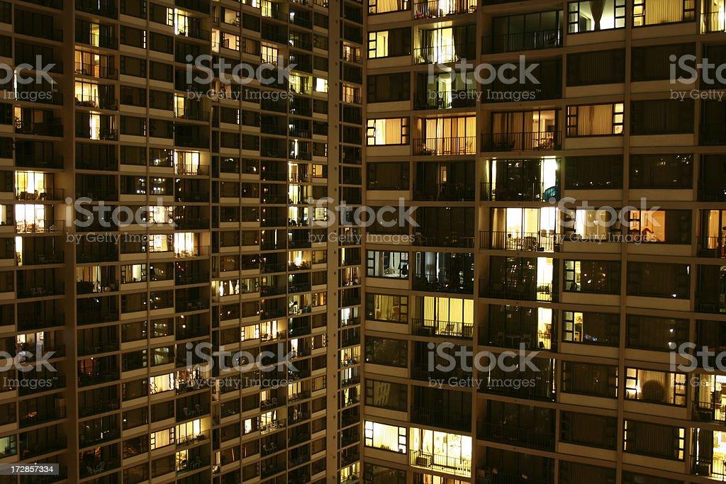 Waikiki Apartment High Rise at night royalty-free stock photo