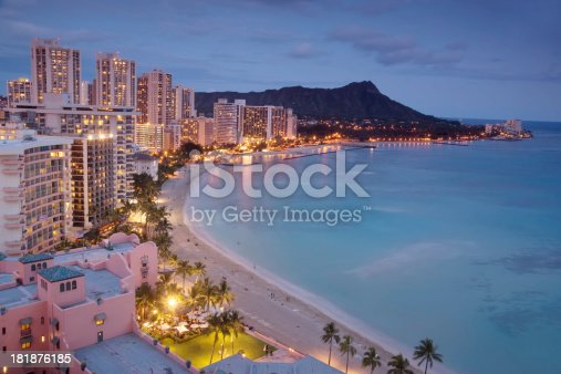 The quintessential view of Waikiki, Hawaii -- luxury hotels, the beach, and Diamond Head.