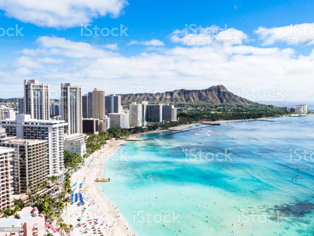 Waikiki Beach and Diamond Head Crater in Honolulu, Oahu island, Hawaii, USA stock photo