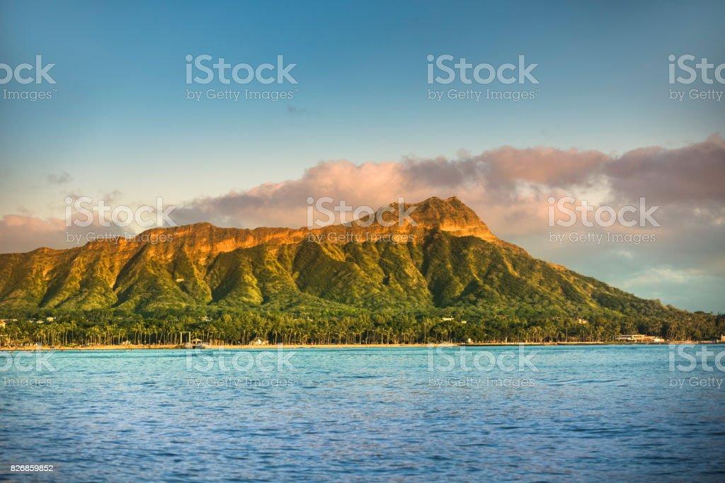 Waikiki beach and Diamond Head Crater in Honolulu stock photo