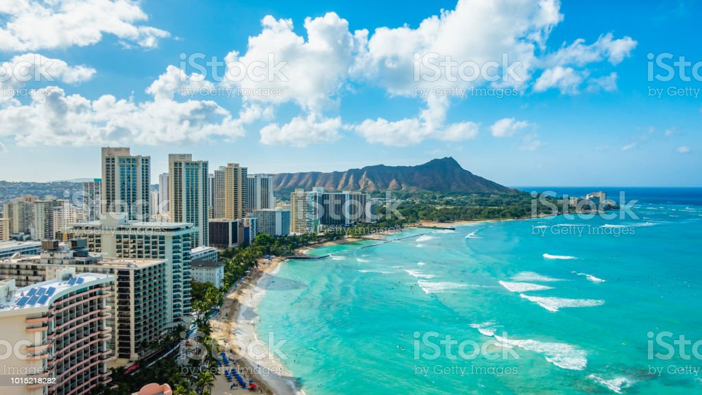 Waikiki Beach And Diamond Head Crater Including The Hotels