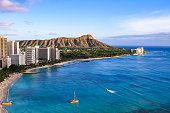 Waikiki Beach and Diamond Head Crater including the hotels and buildings in Waikiki, Honolulu, Oahu island, Hawaii. Waikiki Beach in the center of Honolulu has the largest number of visitors in Hawaii