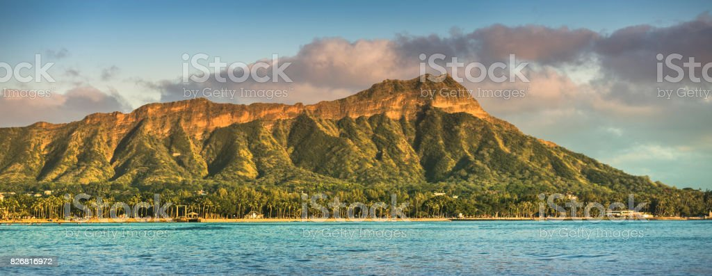 Waikiki beach and Diamond Head Crater panorama in Honolulu stock photo