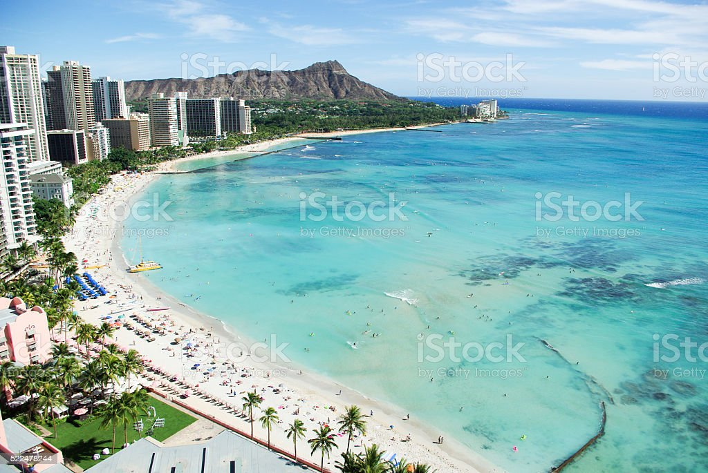 Waikiki Beach and Diamond Head in Honolulu, Oahu Island, Hawaii stock photo