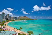 diamond head and waikiki beach on the island of Oahu in Hawaii