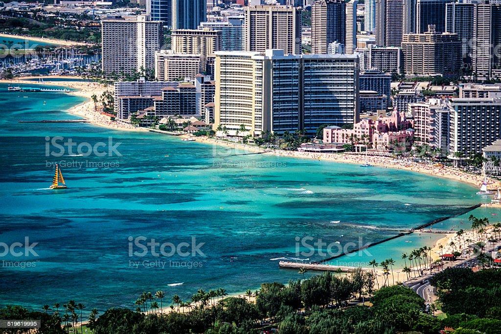 Waikiki Beach and hotels from Diamond Head stock photo