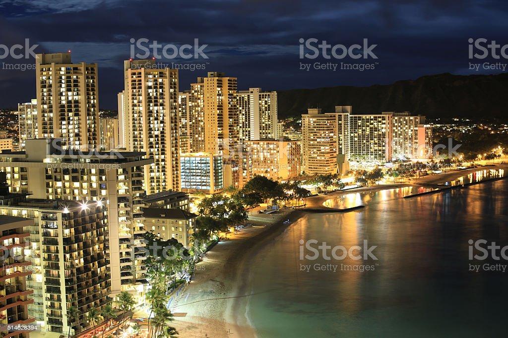 Waikiki Beach at Night stock photo