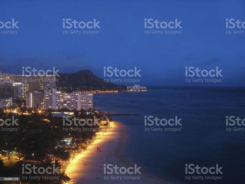Waikiki Beach At Sunset royalty-free stock photo