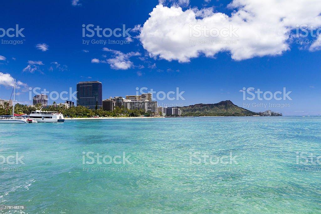 Waikiki Beach Diamond Head Honolulu Oahu Hawaii stock photo