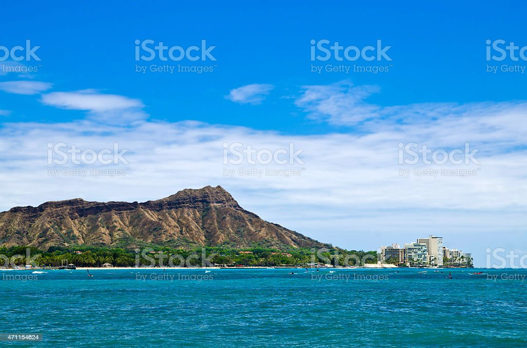 Waikiki beach & Diamond Head stock photo