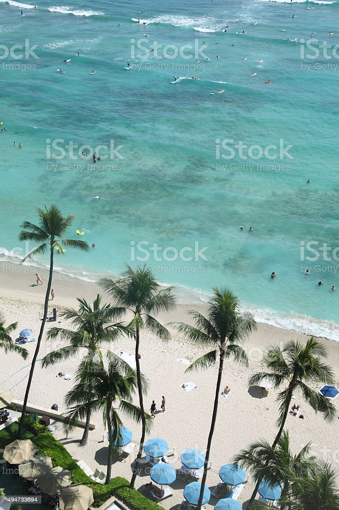 Waikiki Beach from above stock photo