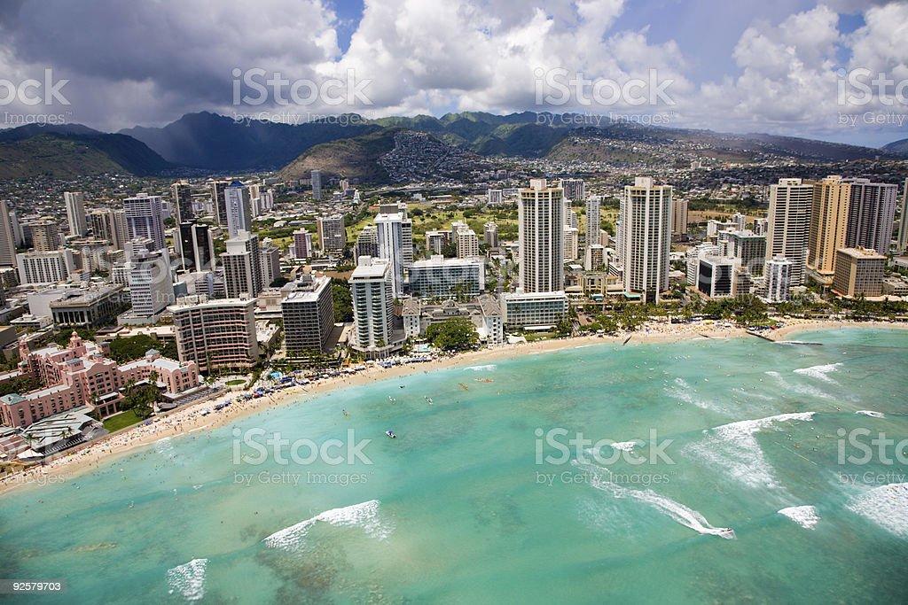 Waikiki Beach from the air stock photo