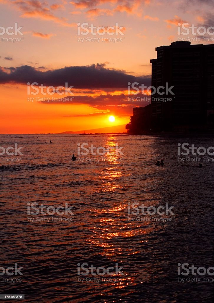 Waikiki Beach Honolulu Hawaii Oahu Sunset Scenic Stock Photo