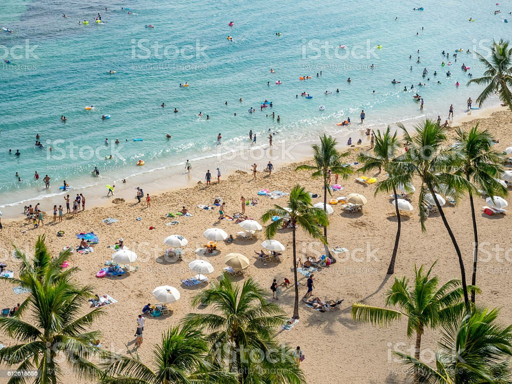 Waikiki beach, Honolulu - foto stock