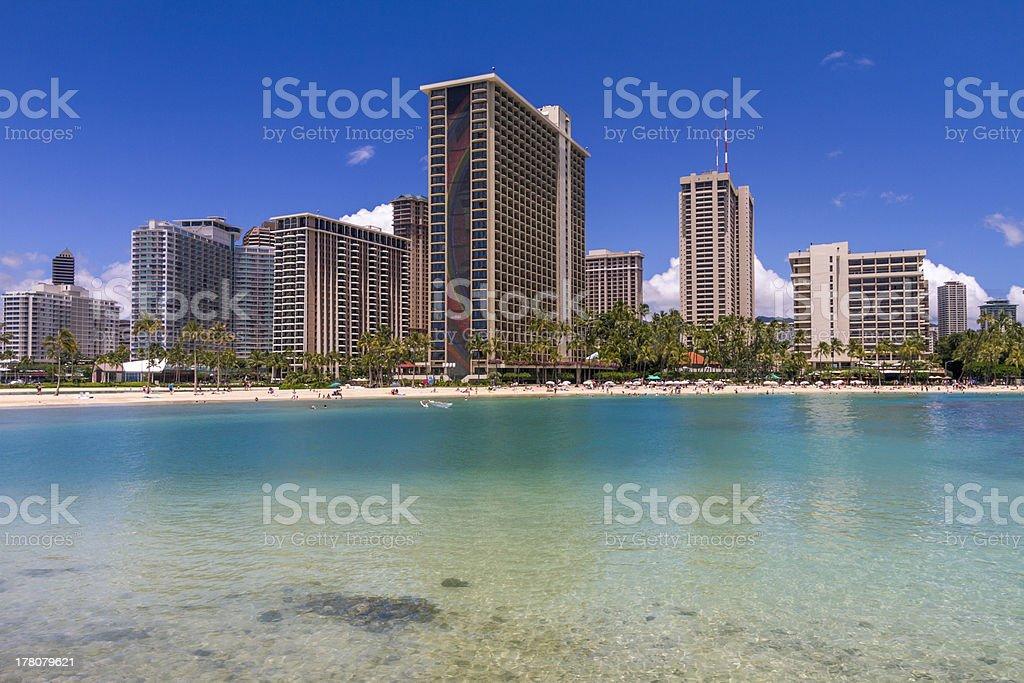 Waikiki Beach Hotels Condominiums Honolulu Hawaii royalty-free stock photo