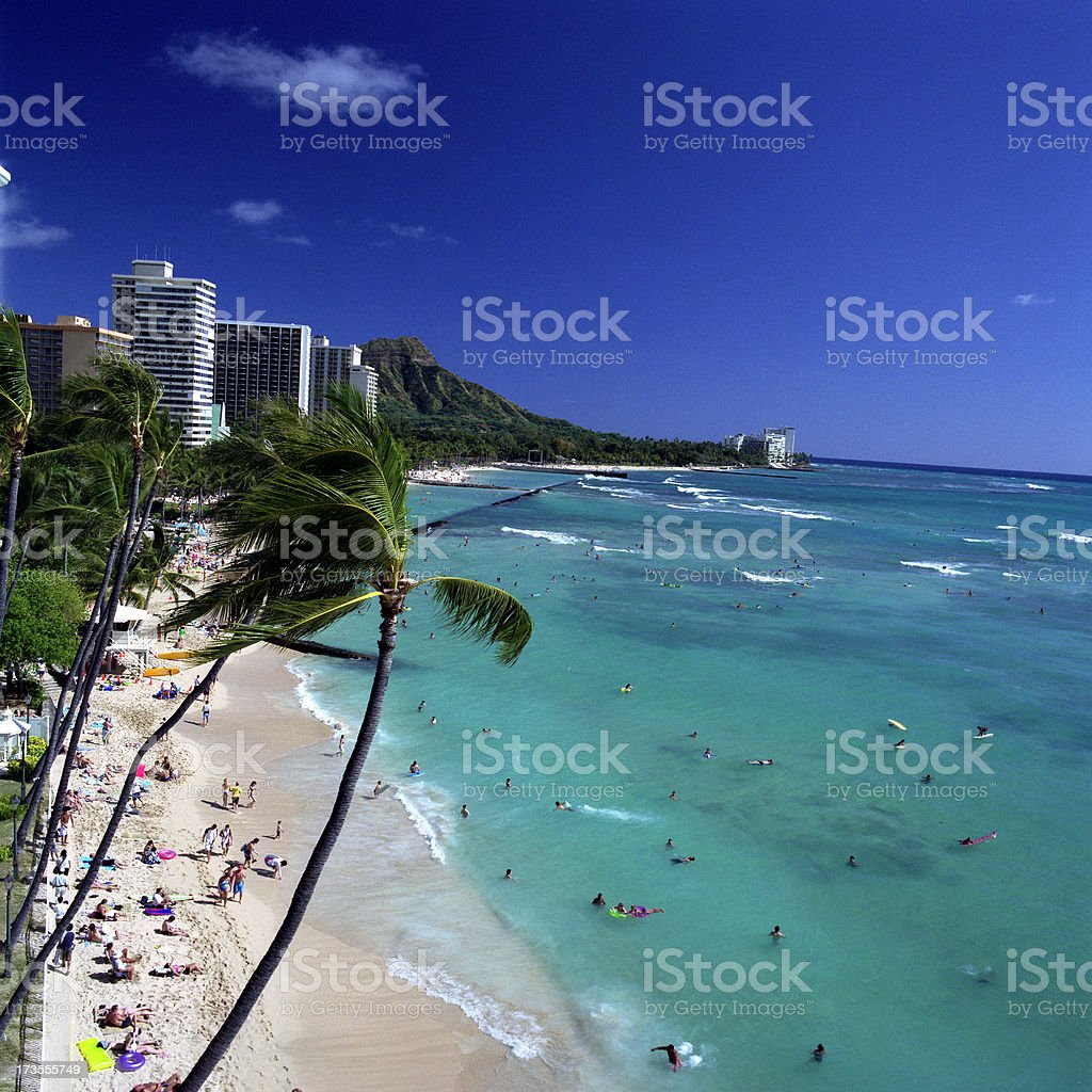 Waikiki beach in a beautiful clear day royalty-free stock photo