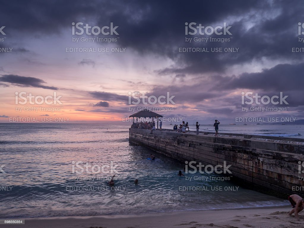 Waikiki Beach In Honolulu At Sunset Stock Photo Download