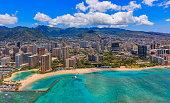 Aerial view of Waikiki Beach in Honolulu Hawaii from a helicopter