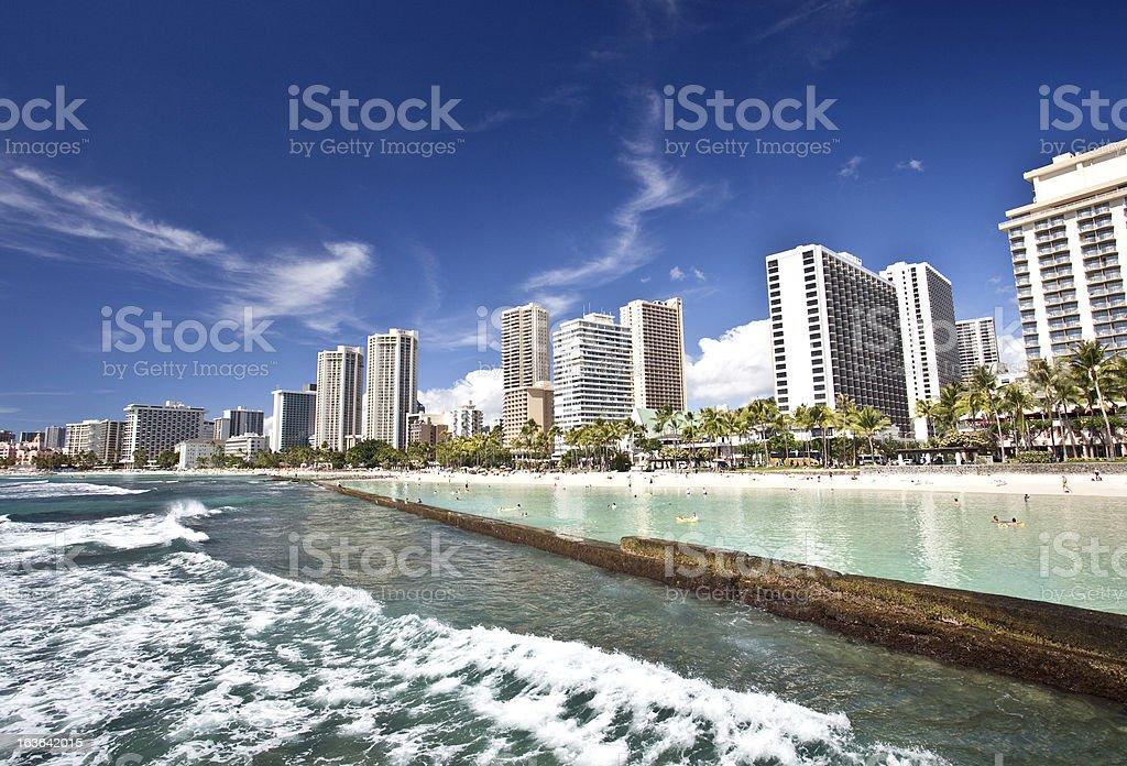 Waikiki Beach in Honolulu stock photo