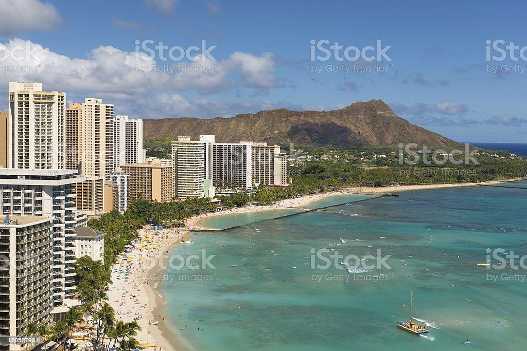 Waikiki Beach in summer stock photo