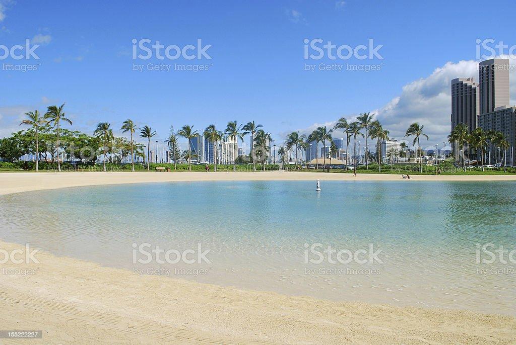 Waikiki Beach Lagoon, Oahu, Hawaii stock photo
