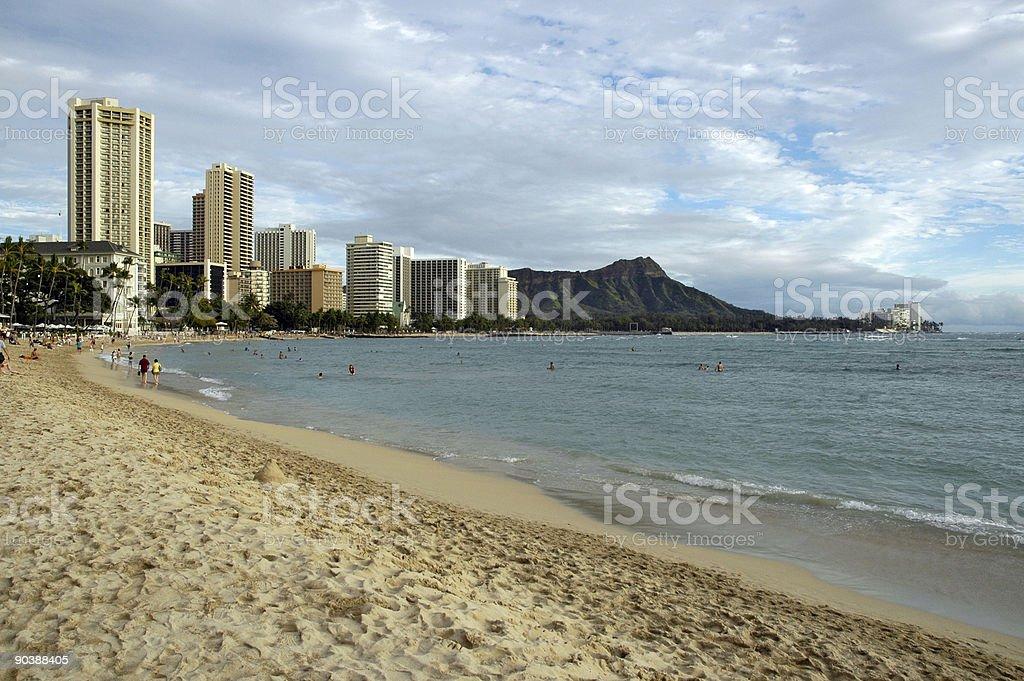 Waikiki beach on Oahu stock photo