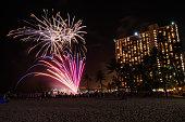 Waikiki fireworks on the beach.