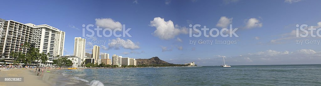 Waikiki Beach Scene Panoramic on Oahu, Hawaii royalty-free stock photo