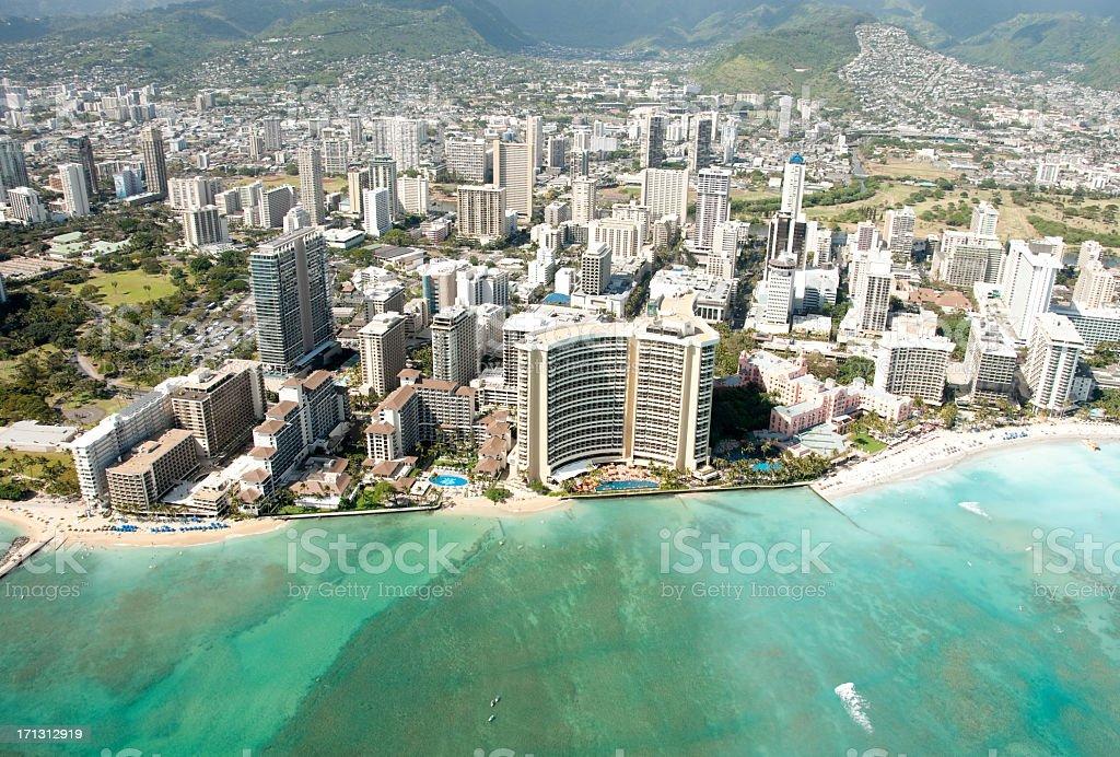 Waikiki Beach skyline shot from a Helicopter stock photo
