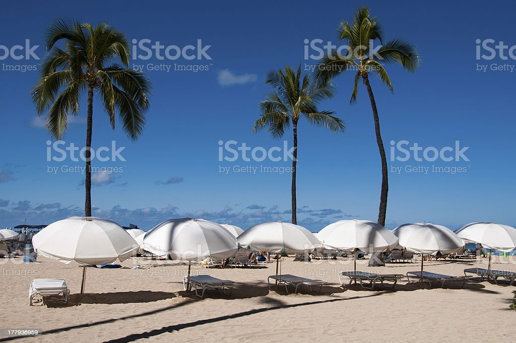 Waikiki Beach sun umbrellas royalty-free stock photo