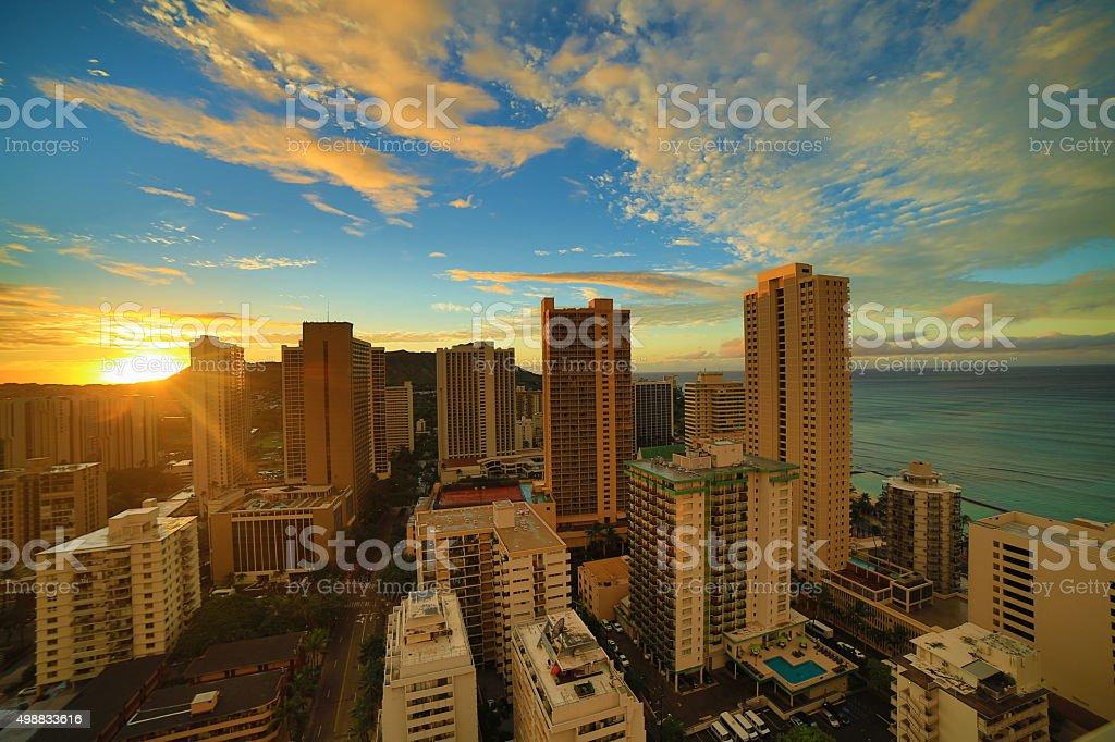 Waikiki Beach Sunrise stock photo