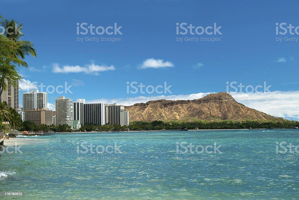 Waikiki beach with azure water in Hawaii stock photo