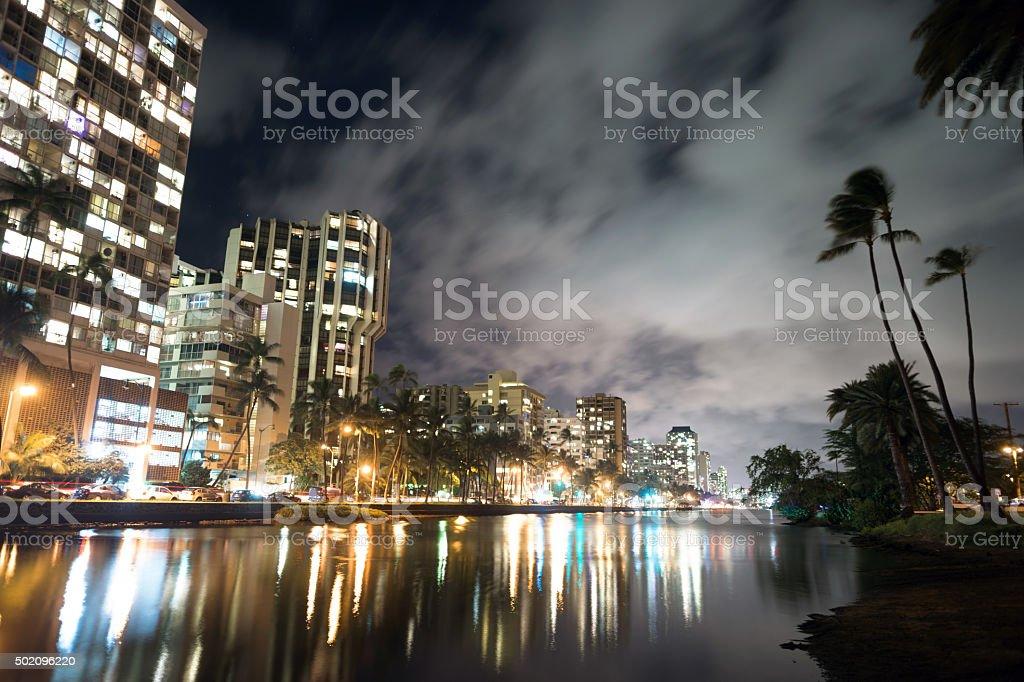 Waikiki Buildings Hotels Palms Architecture Kapahulu Avenue Ala Wai Canal stock photo