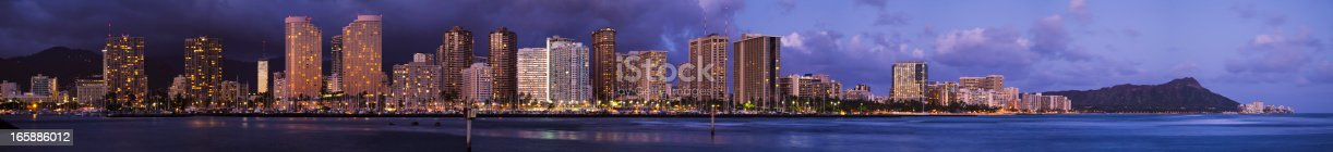 A large panoramic view of Waikiki buildings and Diamond Head at dusk.