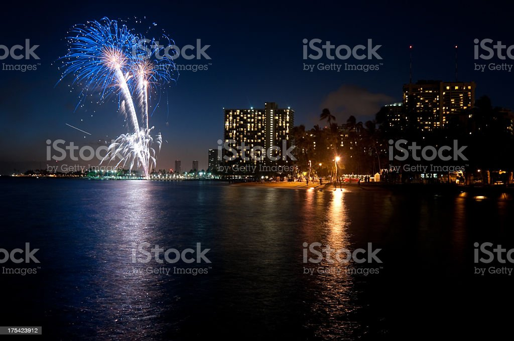 Waikiki Fireworks royalty-free stock photo