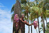 Statue of a surfer welcomes you to Waikiki with open arms.