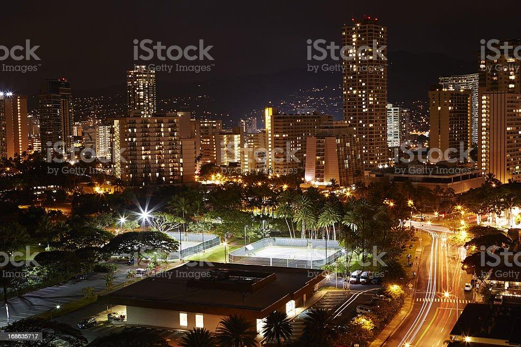 Waikiki Kalakaua Road, Night, Skyline, Hawaii royalty-free stock photo