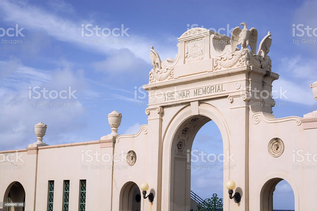 Waikiki Natatorium War Memorial in Honolulu, HI stock photo