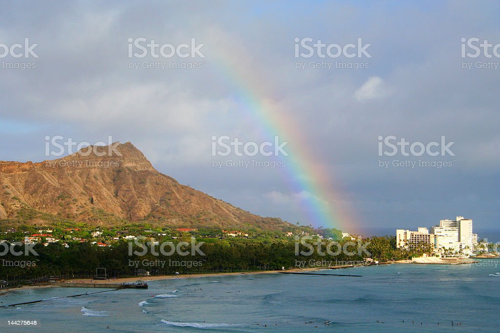 Waikiki Rainbow royalty-free stock photo