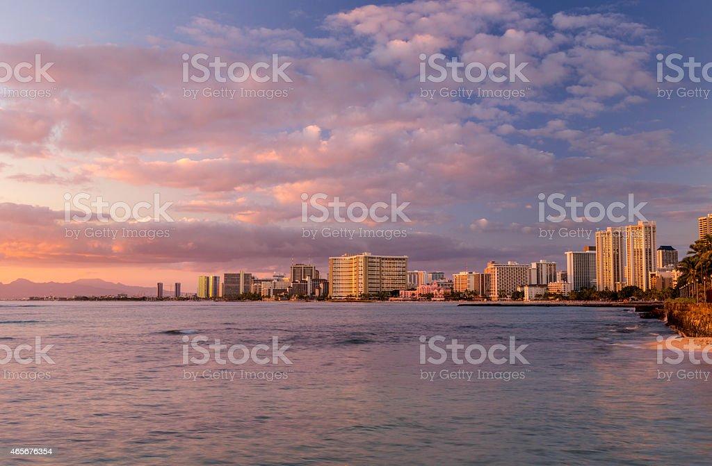 Waikiki Skyline at Sunset stock photo